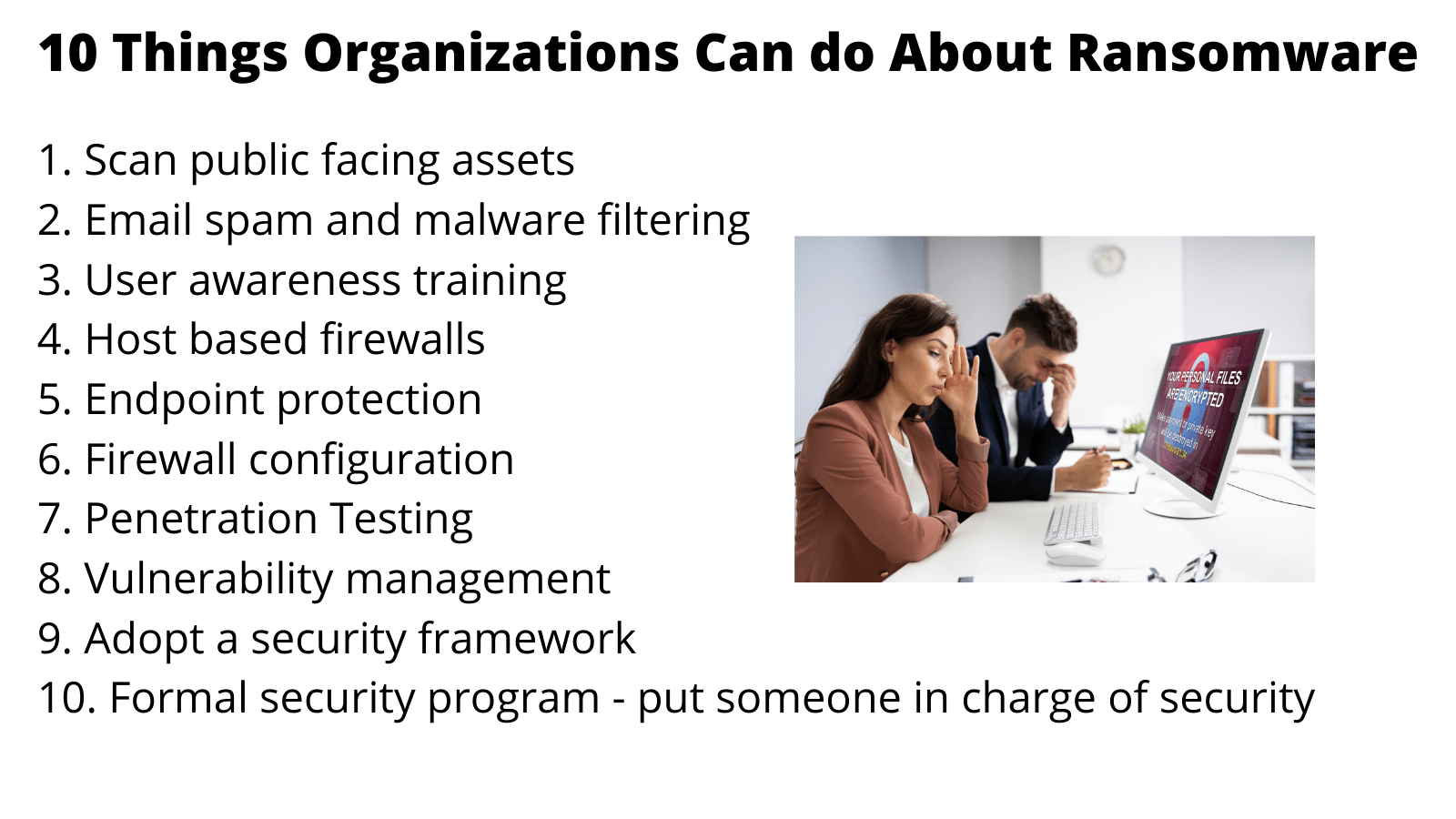 10 Things to prevent ransomware.